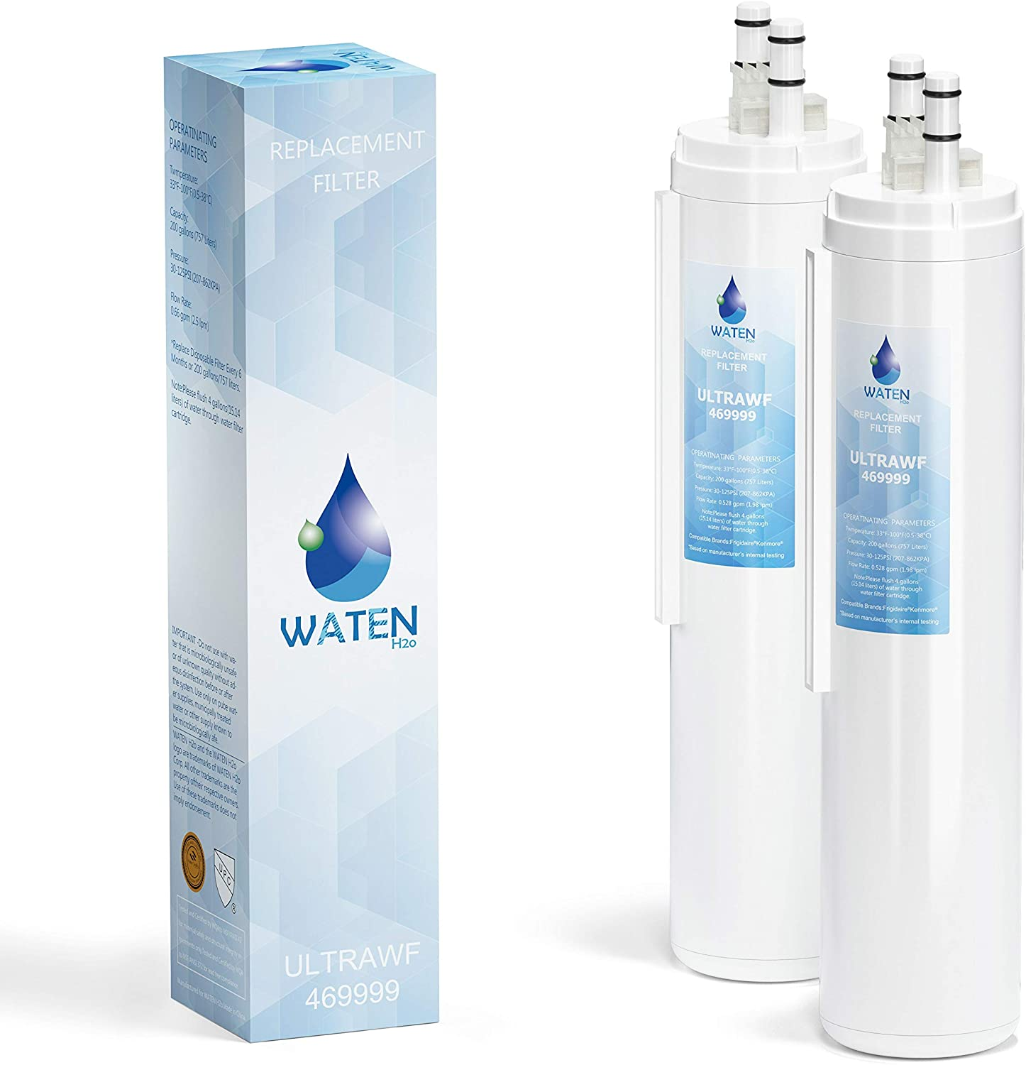 WATEN H2O ULТRAWF Compatible Refrigerator Water Filter Replacement Pure Source Ultra/9999 White-2 Packs