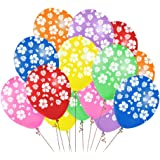 48PCS Hawaiian Luau Tropical Party Balloons Birthday Decorations - Hibiscus Flowers Leaves Summer Supplies Ornaments