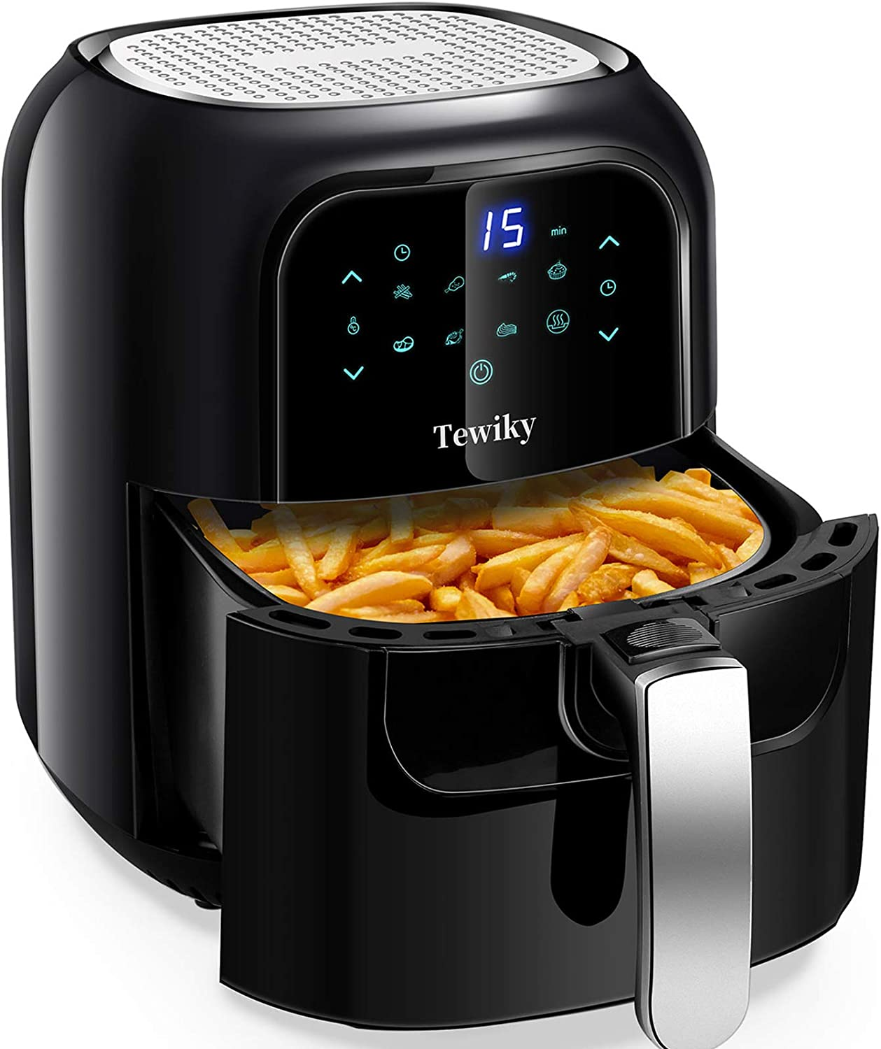 Air Fryer, Tewiky Air Cookers 5.8 Quart,1400 Watt 60 Minutes Digital Air Fryers Oven & Oilless Cooker for Air Frying,Roast. Bake ,LED Digital Touchscreen with 7 Presets,Nonstick Basket
