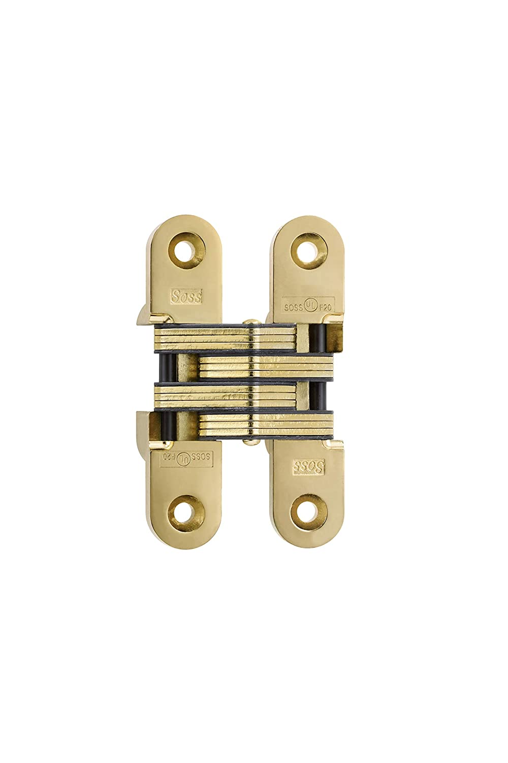 SOSS 220 Zinc Invisible Hinge with Holes for Wood or Metal Applications Antique Brass Exterior Finish