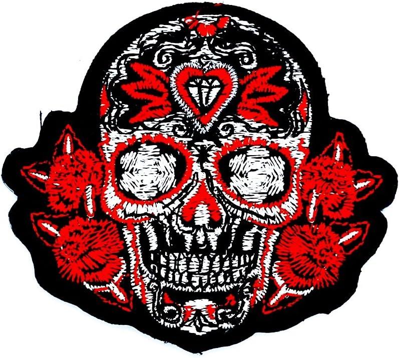 Rojo mexicano Azúcar calavera rosa Awesome Cool Motocicleta parche ideal para su Jeans, sombreros, bolsos, chaquetas y camisas de adorno.: Amazon.es: Juguetes y juegos