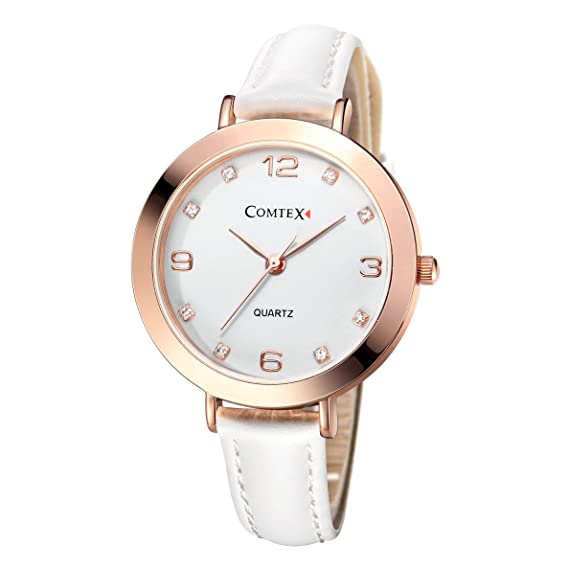 COMTEX Mujeres Relojes Oro Rosa/argent de Cuarzo con Esfera Blanca Correa de Piel Blanco