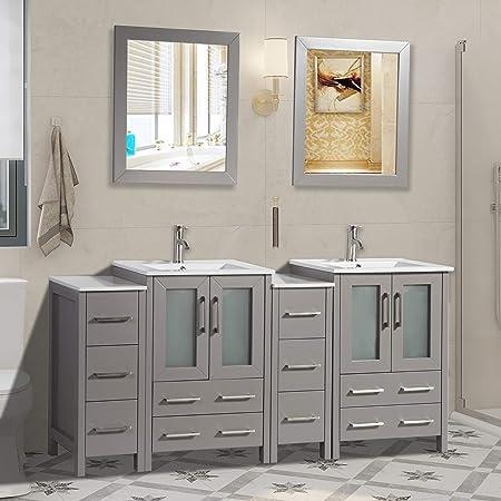 Vanity Art 72 Inch Double Sink Bathroom Vanity Combo Set 2 Side