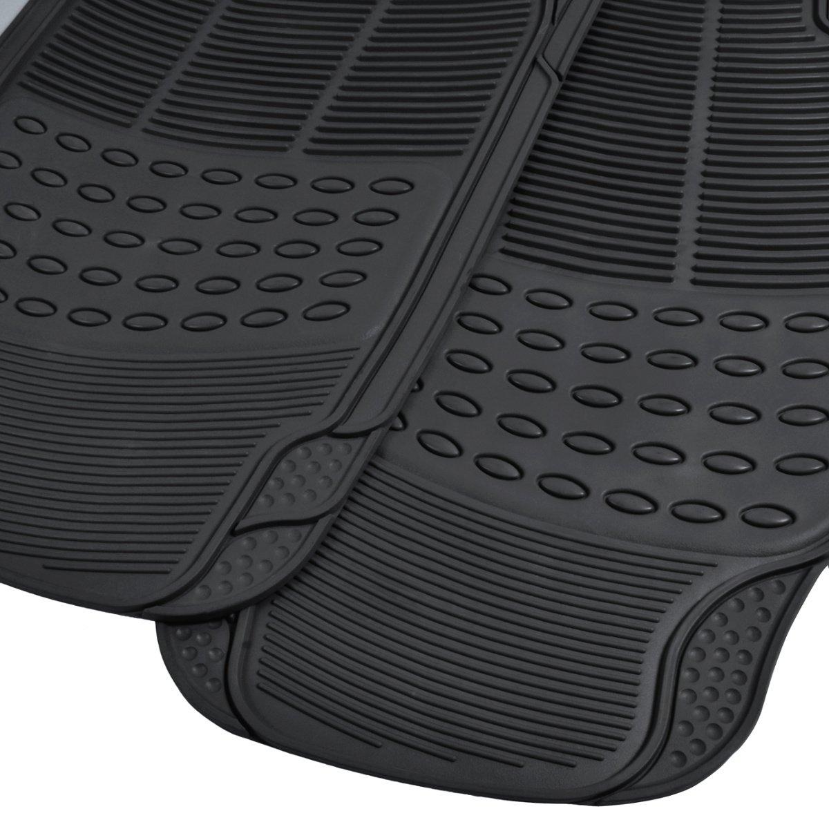 Rubber mats car - Amazon Com Bdk Heavy Duty Rubber Floor Mats Universal For Car Truck Suv Full 3pc Set In Black Automotive