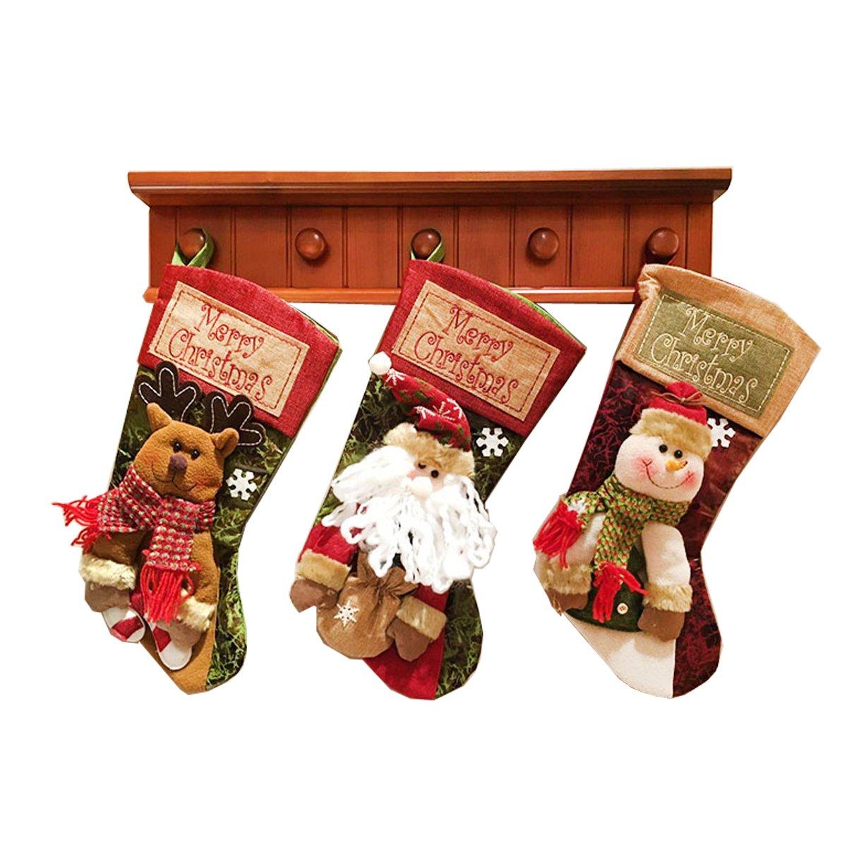 Megadream® - Set di decorazioni per la casa e il bagno adatte per le feste natalizie, con coprisedile per WC, coprirotolo per carta igienica con rivestimento per cassetta del WC e tappetino da bagno, motivo: Babbo Natale, confezione da 3 pezzi, Christm