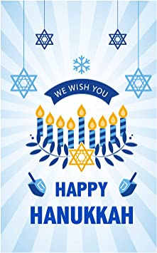 Amazon Com We Wish You Happy Hanukkah Garden Flag 12 X 18 Decorative Ornate Chanukah Menorah Candle Holiday House Flag 110gsm Polyester Fabric Yard Flag For Outdoor Decor Double Side Print
