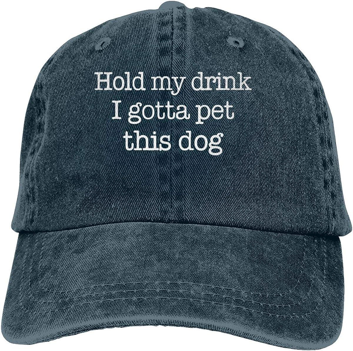 Hold My Drink I Gotta Pet This Dog Cowboy Caps Unisex Dad Baseball Hat Navy