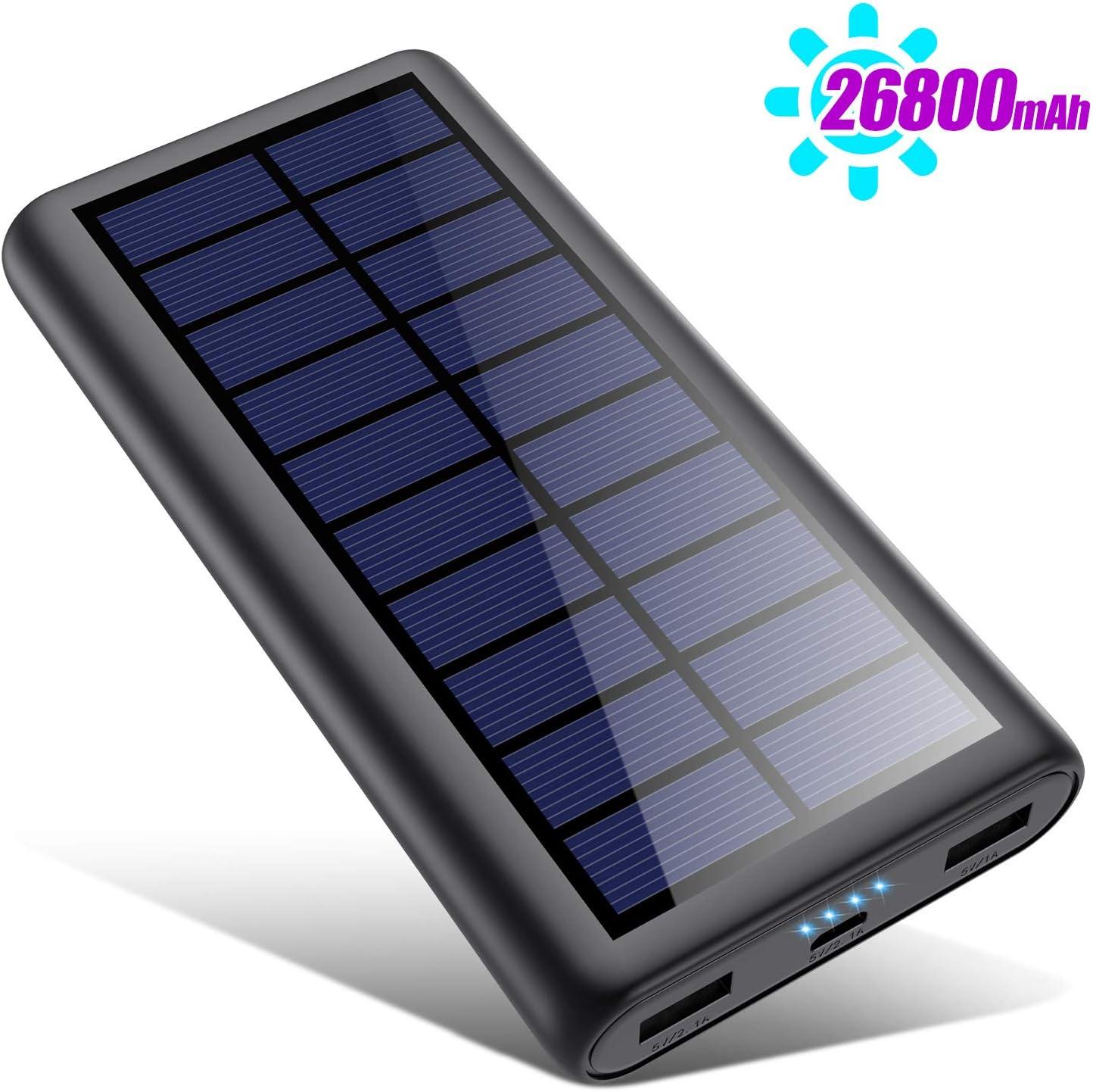 Power Bank Chargeur à Induction sans Fil Solaire 26800mAh, 3