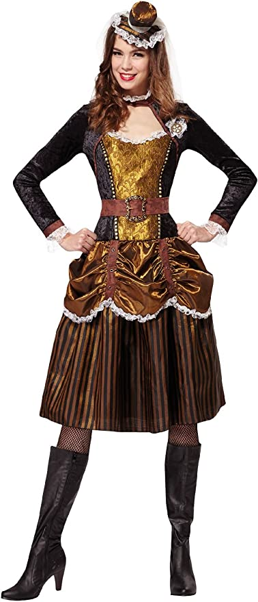 Dress Fancy Outfit Uk 1014 Women/'s Ladies Steampunk Victorian Lady Costume