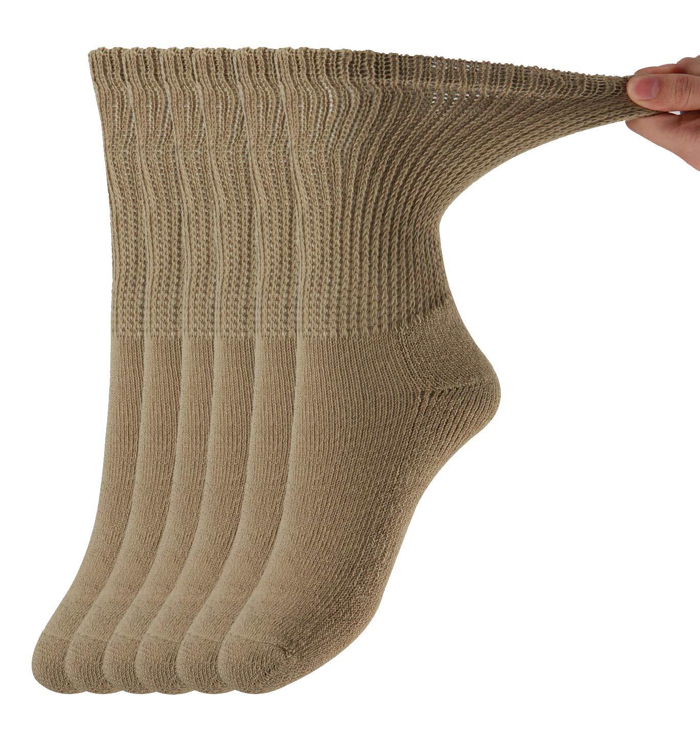 MD Diabetic Socks Mens and Womens Half Cushion Circulatory Crew Socks for All Seasons Loose Fit 6 Pack 10-13 Brown