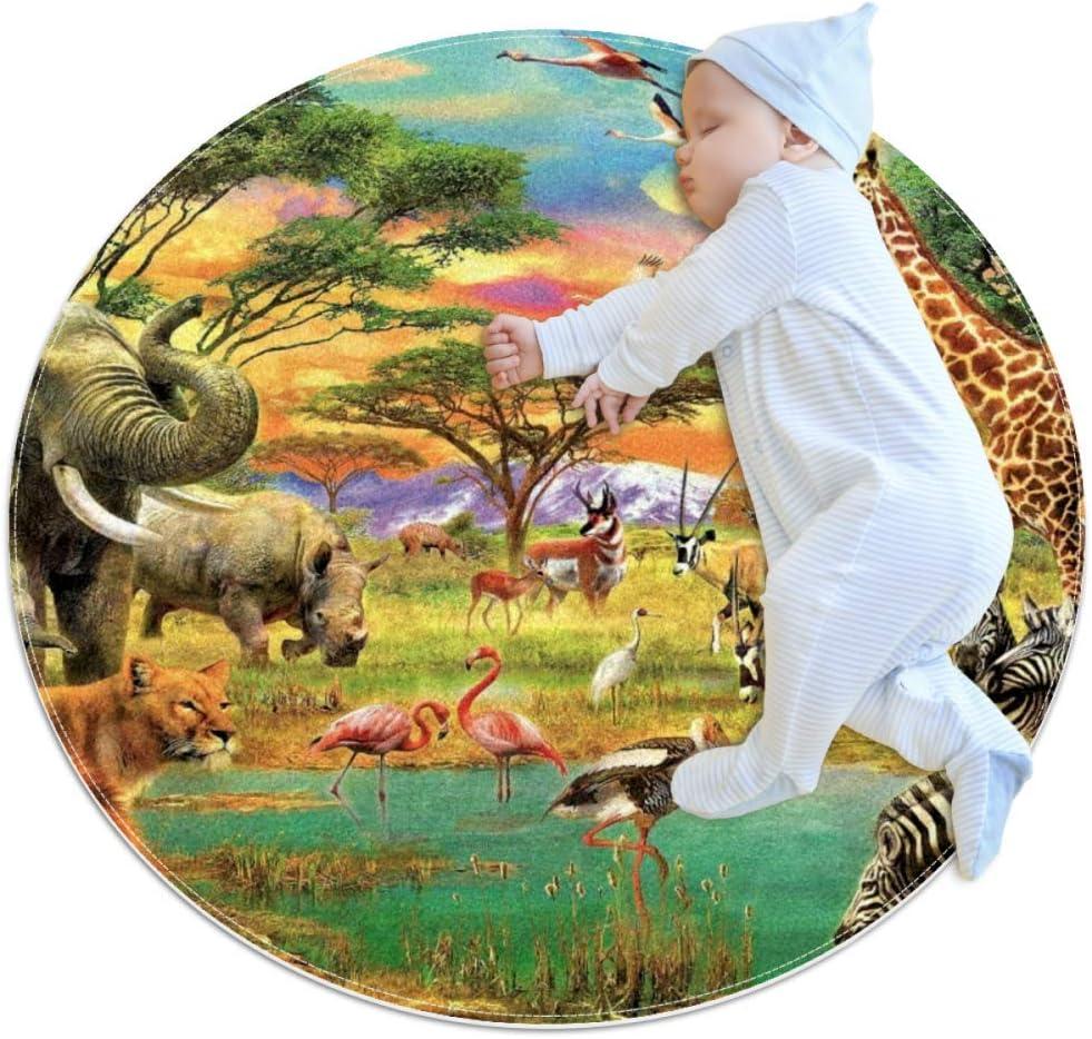 Animales de pastizales africanos Alfombrilla para gatear Decoración de habitación redonda suave y antideslizante para bebés y niños pequeños 70cm