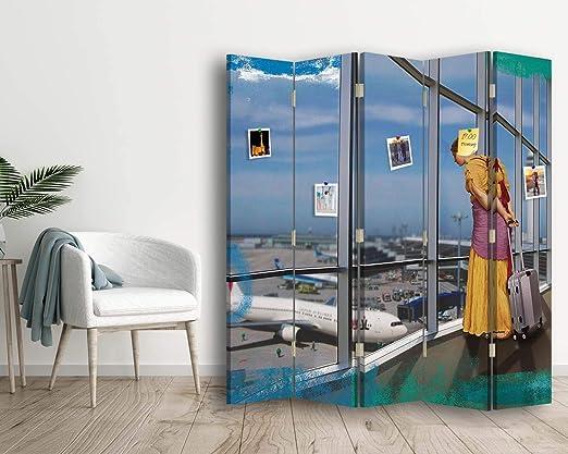 carowall CAROWALL.COM Biombo Parodia del Arte 5 Paneles Bilateral Azúl 180x175 cm: Amazon.es: Hogar