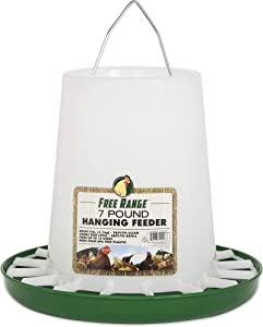 Harris Farms 1000297 Free Range Hanging Poultry Feeder |Prevents Chickens from Scratching Out Feed|7 Pounds, 7 lb