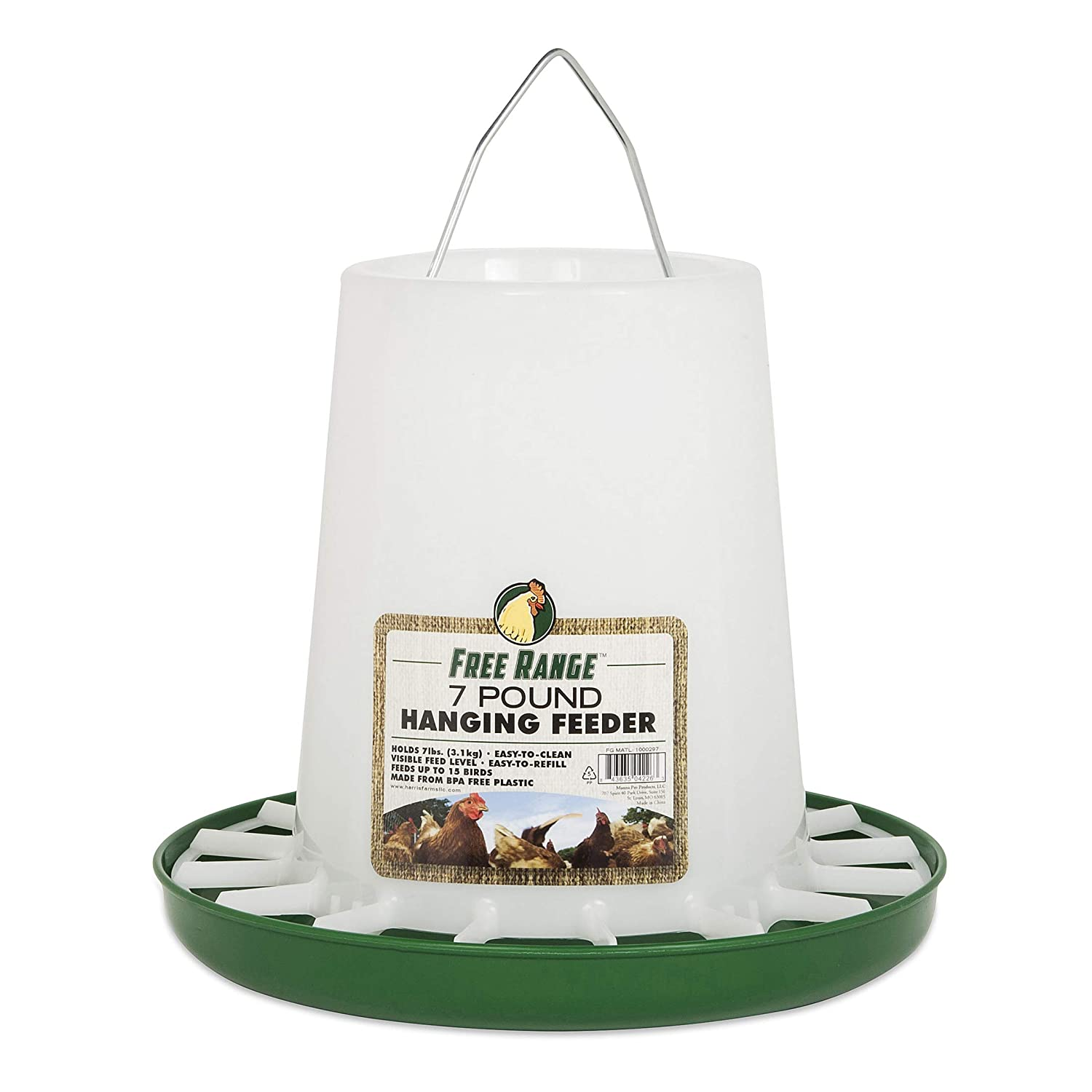 (1, new) Harris Farms 4226 3.2kg Plastic Hanging Poultry Feeder
