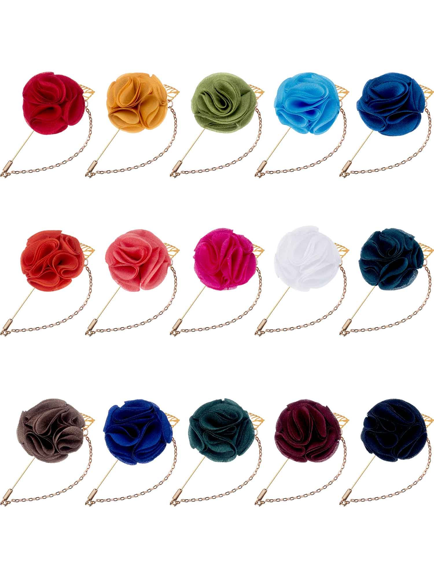 Hestya Men's Satin Lapel Pins with Metal Chain, Handmade Boutonniere Pins with Metal Chain and Storage Box (15 Colors)