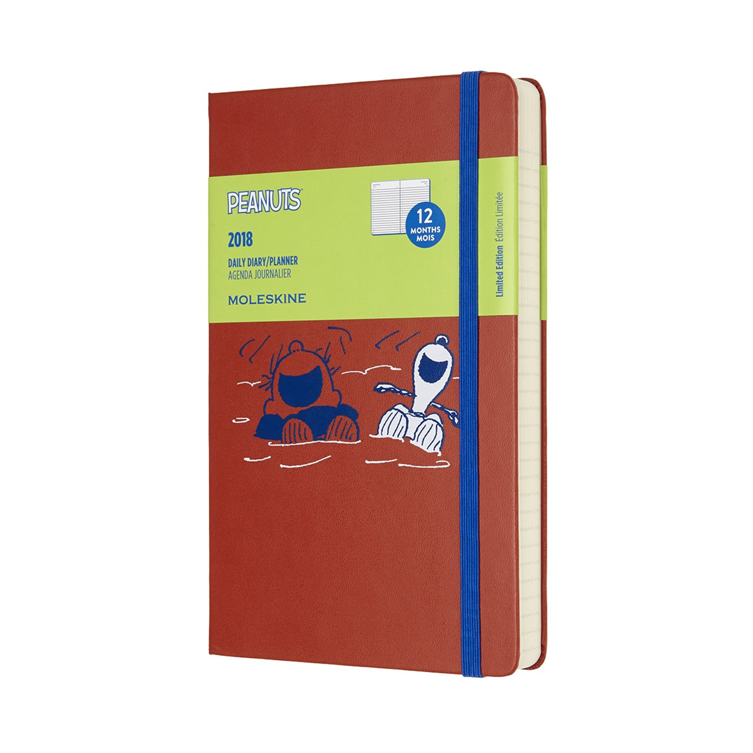 Moleskine Limited Edition Peanuts, 12 Month Daily Planner, Large, Red (5 x 8.25)