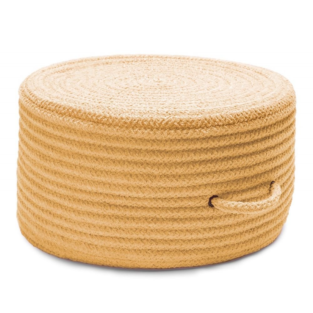 Colonial Mills Braided Round pouf/ottoman 20''x20''x11'' in Banana Color From Solid Chenille Pouf Collection