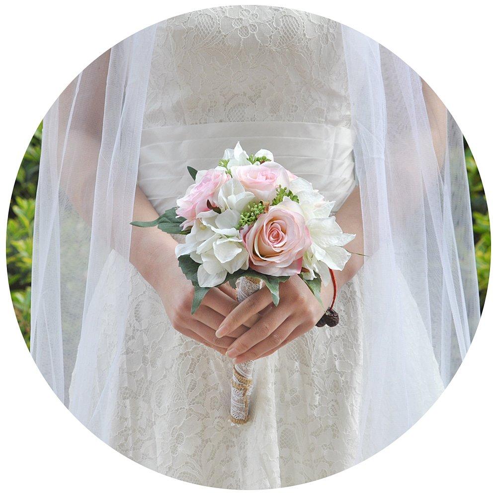 AzaleasのウェディングブライダルBouquetsウェディングブライダルブーケ牡丹の持株花ブライダルブーケ人工結婚式 B07D3PHPQ1