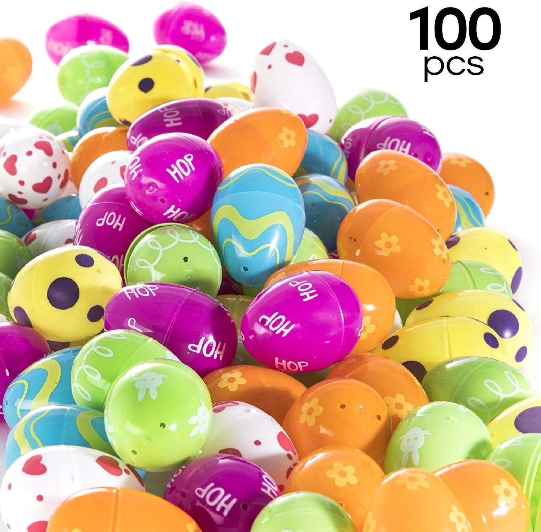 PREXTEX 100 Huevos de Pascua - Huevos de Pascua Rellenables con Diseños Coloridos - Huevos de Pascua para Caza