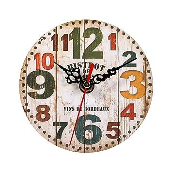 Relojes de Pared de Madera, 7 tipos de estilo Vintage relojes de pared de madera redonda oficina en casa decoración del dormitorio(#3): Amazon.es: Hogar