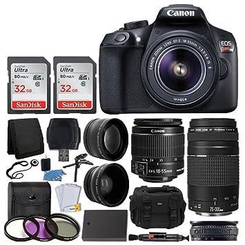 Canon EOS Rebel T6 Digital SLR Camera, 18-55mm EF-S Lens, EF 75-300mm Lens,  SanDisk 64GB Card, Telephoto and Wide Angle Lens, Extra Battery, 58mm UV