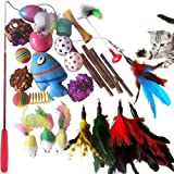 SenYoung 27PCS Cat Toys Kitten Toys, Interactive Cat Toy Set including Cat Teaser Wand, Catnip Fish, Cat Teather Toy…