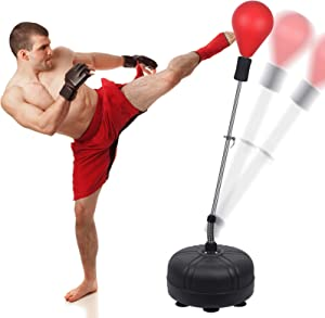 Reflex Bag Boxing Bag with Adjustable Stand, Adult and Children's Models, Freestanding Boxing Sandbag, Height Adjustable Outlet 53In-62In - Perfect for MMA Training, Etc, Fitness and Stress Relief.