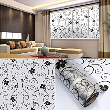 DODOING 17.7x393.7 Inch Privacy Home Bathroom Window Glass Self Adhesive  Film Sticker,