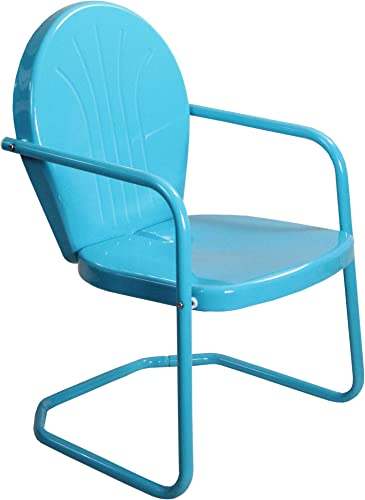 Northlight 34-Inch Outdoor Retro Tulip Armchair, Turquoise Blue