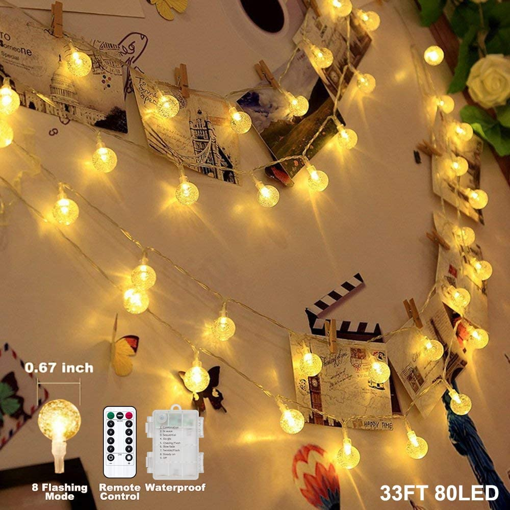 Battery Operated Globe String Lights,Water Proof 33 FT 80 LED Crystal Ball String Lights 8 Modes with Remote Control,Indoor Outdoor LED Fairy Lights for Home, Christmas, Party Patio, Warm White
