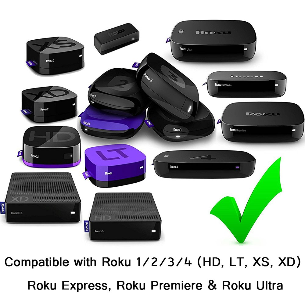 Gvirtue Replacement Lost Remote Control Compatible with Roku 1, Roku 2,  Roku 3, Roku 4, (HD, LT, XS, XD), Roku Express, Roku Premiere, Roku Ultra