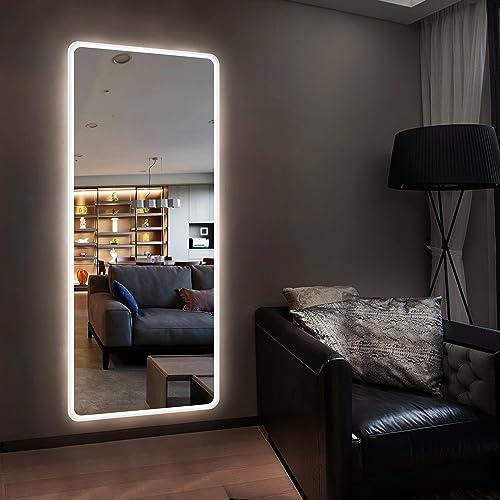 Hans Alice LED Backlit Mirror Illuminated Full Length Wall Mount Dressing Mirror,65″x22″