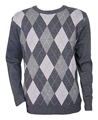 16e3b790a2db30 Maan Store Mens Crew Neck Knitted Jumper Diamond Pattern Long Sleeves:  Amazon.co.uk: Clothing