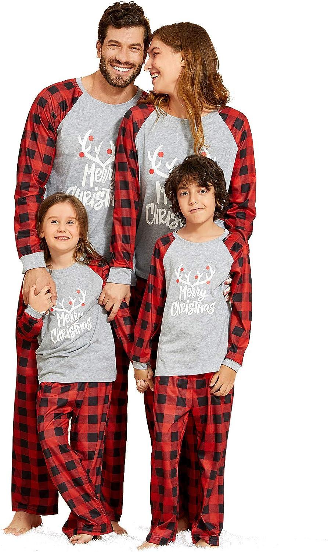 Family Christmas PJs Matching Sets Reindeer Sleepwear Pants Plaid Printed Long Sleeve Tee and Pants Pajamas