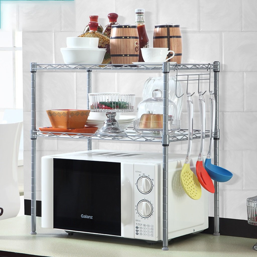 Hyun times Kitchen Electrical Appliances Storage Flavor Rack Planes Double - Deck Microwave Shelves Storage Shelves Finishing