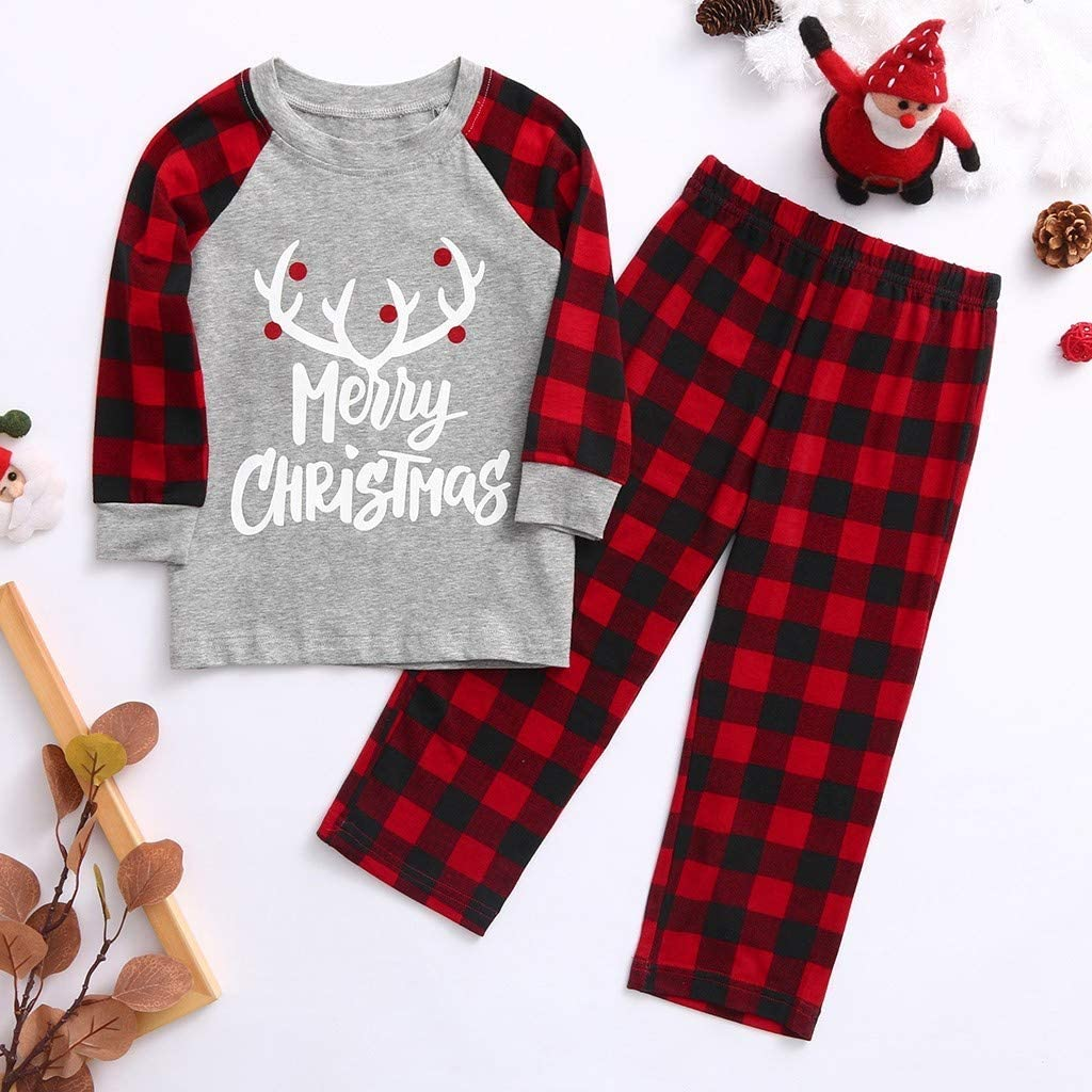 Forthery Matching Family Pajamas Sets Christmas PJs with Letter Printed Long Sleeve Tee and Red Plaid Pants Loungewear