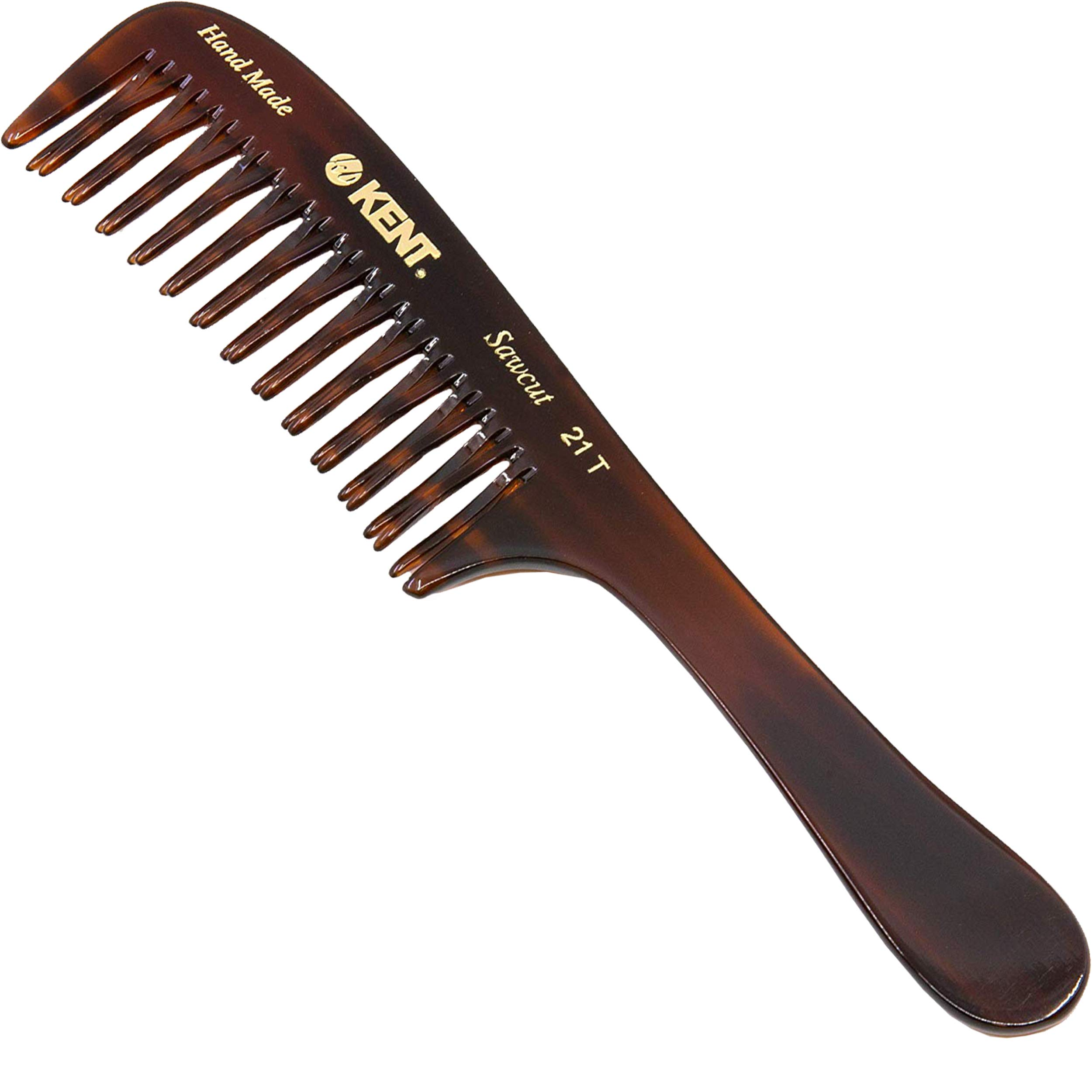 Kent 21T 8 Inch Large Hair Detangling Comb, Wide Teeth for Thick Curly Wavy Hair. Long Hair Detangler Comb For Wet and Dry. Handmade of Quality Cellulose, Saw-Cut Hand Polished, Made in England