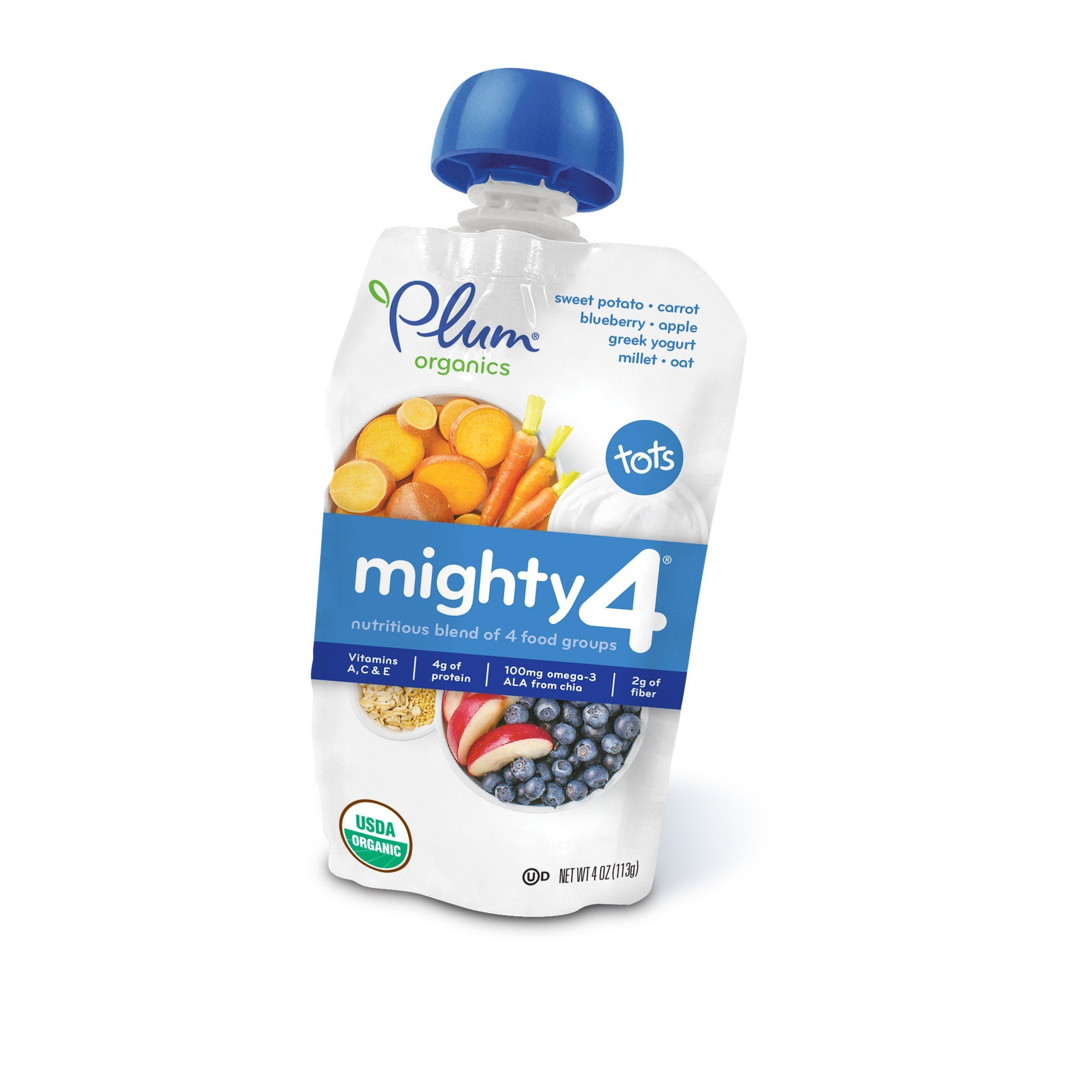 Plum Organics Mighty 4, Organic Toddler Food, Sweet Potato, Carrot, Blueberry, Apple, Greek Yogurt, Millet & Oat, 4 ounce pouch (Pack of 12)