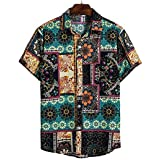 Polinkety Mens Linen Shirts Colorful Print Button Down Beach Casual Shirt Henley Shirts