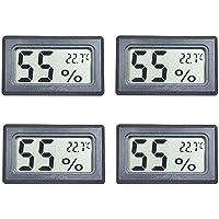 Maiweitong - Juego de 4 mini higrómetro digital termómetro de humedad y temperatura, pantalla LCD para humedales, botes…