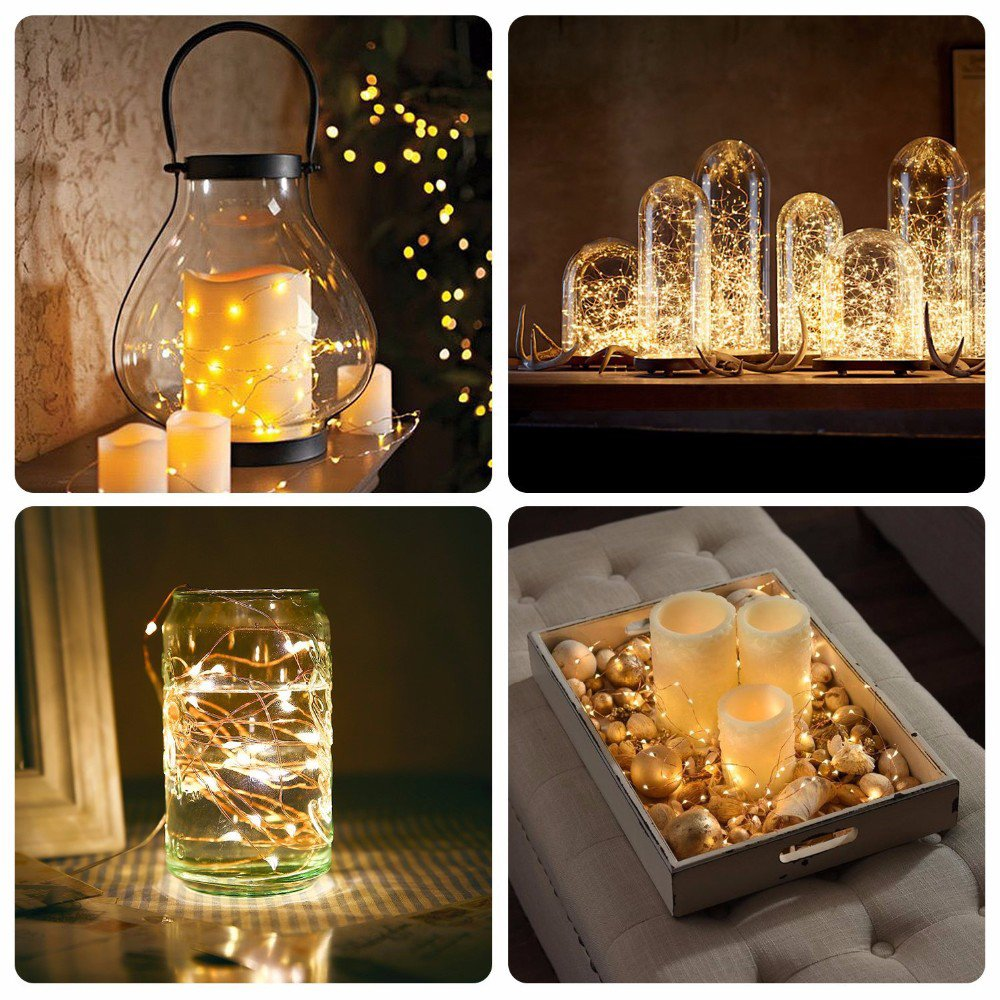 LED Battery String Lights with Remote Control,100 LED 33ft Waterproof Outdoor Lights, for Home Decor Indoor Copper Wire Warm Lights by Voneta (Image #6)