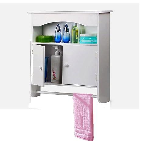 Yaheetech White Wooden Bathroom Wall Cabinet Toilet Medicine Storage Organiser Cupboard 2 Door With Bar Shelf
