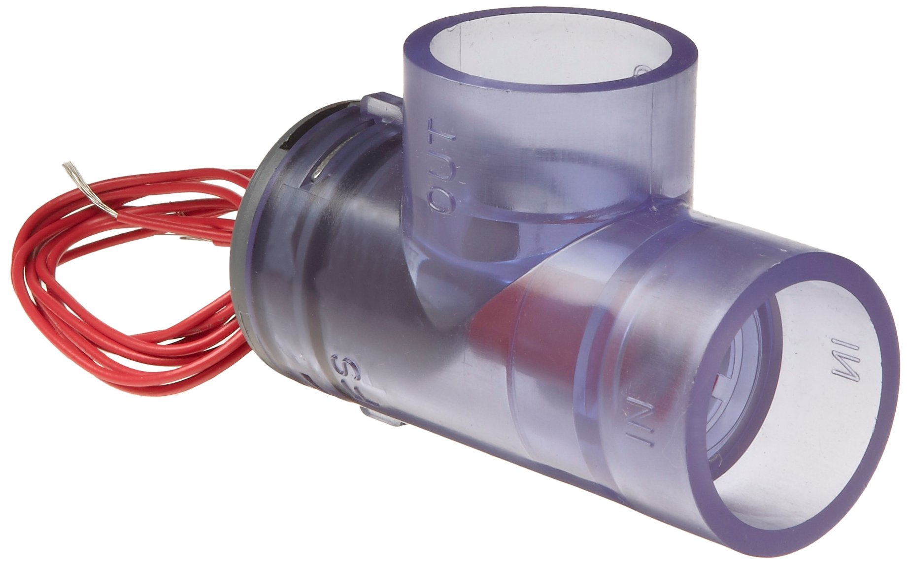 Gems Sensors FS-400P Series PVC Flow Switch, Elbow, Shuttle Type, 2 gpm Flow Setting, 1'' IPS