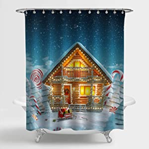 MitoVilla Christmas Shower Curtain, Amazing Decorated Log House Decorated at Christmas Lights in Magical Art Print for Winter Holiday Bathroom Decor, for Kids and Children, 72 W x 72 L