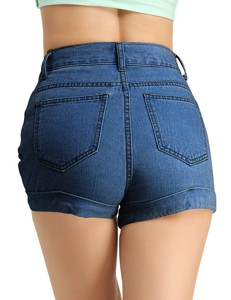 CUNLIN Women High Waisted Denim Shorts Fashion Summer Sexy Vintage Distressed Folded Hem Jeans Shorts Blue 25 by CUNLIN (Image #2)
