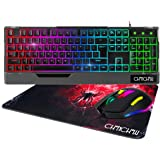 RGB Gaming Keyboard and Mouse Combo, CHONCHOW Compact 104 Keys Backlit Computer Keyboard with Gaming Mouse, USB Wired Set for