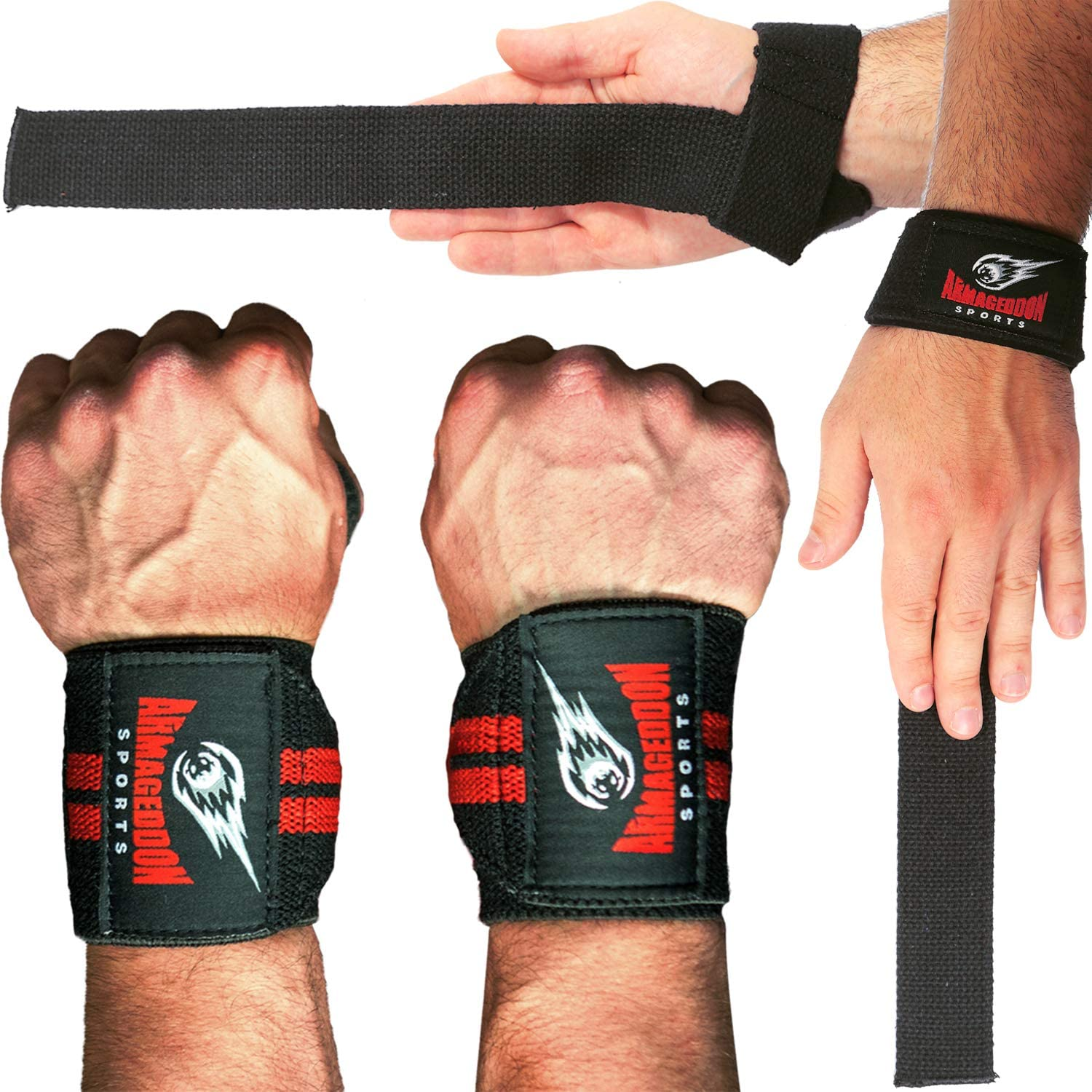 Padded WEIGHT LIFTING HAND BAR GYM TRAINING STRAPS SUPPORT WRIST WRAPS COTTON