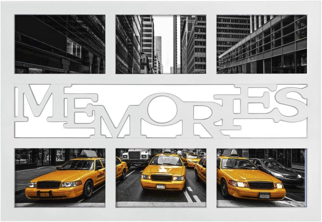 Bianco. legno Hama Collage Cornice per Foto Collage Montreal Friends Cornice per Foto con Scritta Friends e Fiori, per 3 Foto, Telaio in plastica, in Vero Vetro
