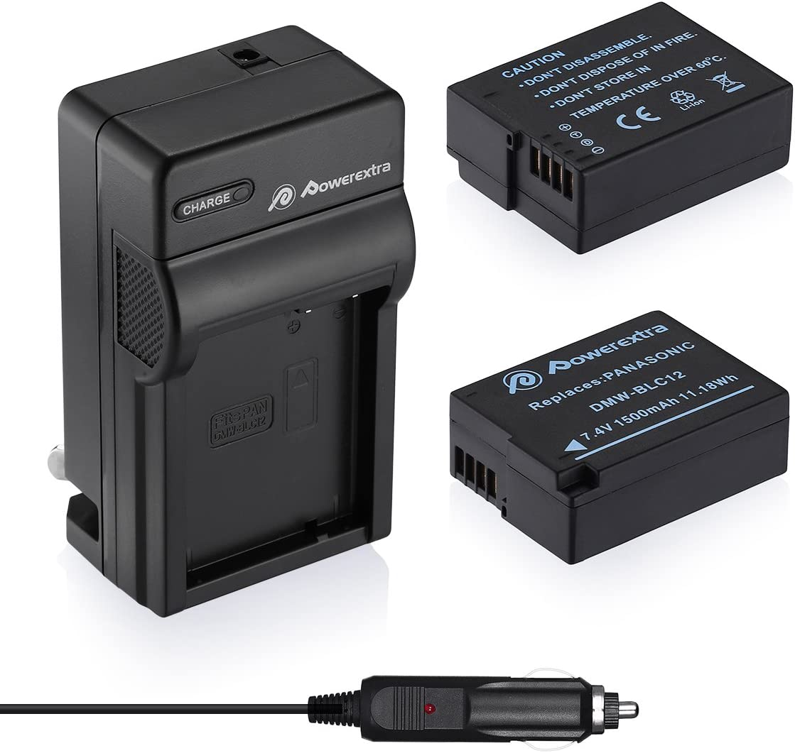 DMC-G6 DMC-FZ1000 DMW-BLC12E DMW-BLC12PP and Panasonic Lumix DMC-G85 DMC-GX8 DMC-GH2 DMC-FZ200 DMC-G5 Powerextra 2 Pack Battery and Charger Compatible with Panasonic DMW-BLC12 DMC-G7