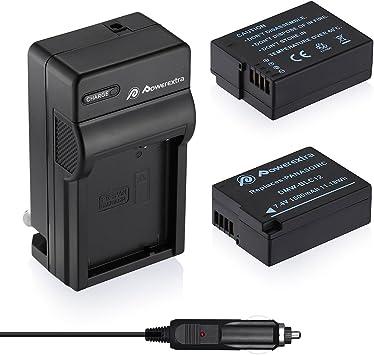 Powerextra 2 Pack Battery and Charger Compatible with Panasonic DMW-BLC12, DMW-BLC12E, DMW-BLC12PP and Panasonic Lumix DMC-G85, DMC-FZ200, DMC-FZ1000, ...